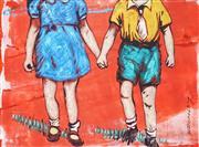 Sale 9009A - Lot 5080 - David Bromley (1960 - ) - Holding Hands 21 x 27.5 cm (frame: 50 x 56 x 2 cm)