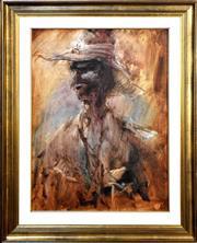 Sale 9015J - Lot 45 - Hugh Sawrey - The Stockman 60x45cm