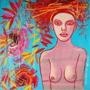Sale 9034A - Lot 5029 - Constantine Popov (1965 - ) - Girl with Flowers 92 x 92 cm (stretched and ready to hang)
