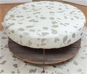 Sale 9066H - Lot 171 - A devoré cowhide custom made circular ottoman on timber and iron shelved base, Diameter 105cm H 50cm.