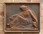 Sale 9070H - Lot 7 - A terracotta wall plaque depicting a classical lady in seated position, Height 39cm x Width 48cm
