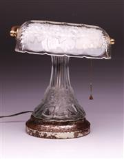 Sale 9090 - Lot 4 - Vintage Glass Bankers Lamp Decorated with frosted flowers (h:28cm)