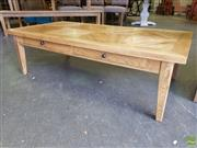 Sale 8601 - Lot 1529 - Parquetry Oak Coffee Table with Two Drawers (H: 42 W: 140 D: 70cm)