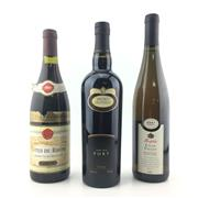 Sale 8611W - Lot 74 - 3x Bottles - 1989 Guigal Cotes-du-Rhone, 2001 Penfolds Reserve Riesling & Brown Brothers Very Old Port