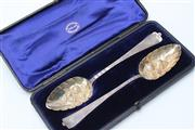 Sale 8729 - Lot 17 - A Pair of Victorian Hallmarked Silver Berry Spoons in Case