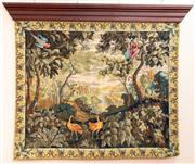 Sale 8804A - Lot 128 - A wall tapestry with a castle and parkland scene, 146cm x 177cm