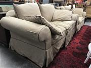 Sale 8817 - Lot 1032 - Pair Striped Fabric Sofas