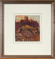 Sale 9021 - Lot 501 - Tempe Manning (1893 - 1960) - Terraces Houses & view of St. Marys Cathedral under Construction 23 x 22 cm (frame: 52 x 48 x 3 cm)