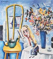 Sale 9009A - Lot 5050 - Charles Blackman (1918 - 2018) - Alice on the Table 32.5 x 28.5 cm (frame: 62 x 53 x 3 cm)