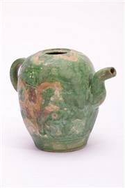 Sale 9015C - Lot 784 - Small Sancai Ewer (H12.5cm, missing cover and peeling glaze)