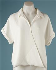 Sale 9090F - Lot 47 - A VERONIKA MAINE T-SHIRT BLOUSE, with wrap front, collar and rolled sleeves, in a cream cotton blend, size 10