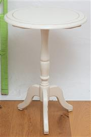 Sale 9066H - Lot 173 - A cream painted circular top occasional table on tripod base. Diameter 52cm H 70cm