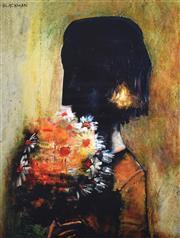 Sale 9072A - Lot 5072 - Charles Blackman (1928 - 2018) - Woman with Yellow Bouquet 37 x 29 cm (frame: 67 x 53 cm)