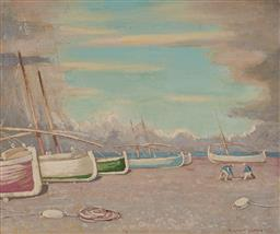 Sale 9141 - Lot 577 - Norman Lloyd (1897 - 1985) Untitled (Boats on the Shore) oil on canvas 31.5 x 39 cm (frame: 44 x 51 x 3 cm) signed lower right