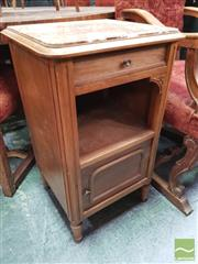 Sale 8416 - Lot 1082 - Early 20th Century French Walnut Bedside Cabinet, with marble top, single drawer, open shelf & cupboard below