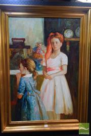Sale 8541 - Lot 2067 - A.Claudie Sister Hood Framed Acrylic on Canvas SLR  106cm x 76cm