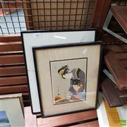 Sale 8636 - Lot 2085 - 2 Works: Japanese Print with a Chinese Calligraphy Print -
