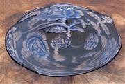 Sale 8650A - Lot 89 - An Orrefors blue glass bowl with central rose and floral motif, Graal by Eva Englund, Diameter 38cm.