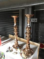 Sale 8789 - Lot 2377 - Pair of Copper Coloured Candle Sticks