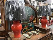 Sale 8822 - Lot 1593 - Pair of Italian Bagini Red Ceramic Ginger Jar
