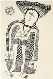 Sale 8847A - Lot 5007 - Mathias Kauage (1944 - 2003) - Untitled 1974 41.5 x 63cm