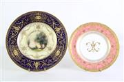Sale 8935 - Lot 45 - A Fine Royal Worcester display plate (Dia26cm) together with a Royal Crown Derby Monogrammed Plate (Dia21.5cm)