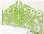 Sale 9066H - Lot 174 - A green painted peacock style bed head. W 186cm