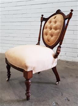 Sale 9097 - Lot 1054 - Victorian Walnut Ladys Chair, with column back, cream buttoned upholstery & turned legs (h86 x w55 x 52cm)