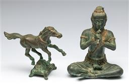 Sale 9156 - Lot 34 - A bronze southeast Asian figure of a seated musician (H:20cm) together with a horse (L:20cm)