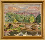 Sale 8459 - Lot 596 - Johan Thomas Skovgaard (1888 - 1977) - Country Bridge, Skåne 1954 37 x 43.5cm