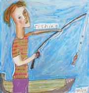 Sale 8504 - Lot 585 - Kerrie Lester (1953 - 2016) - Fishing 28.5 x 28.5cm