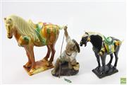 Sale 8621 - Lot 85 - Tang Style Horse with Another Together with Figure of A Fisherman