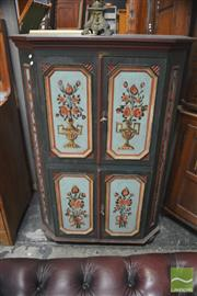 Sale 8317 - Lot 1026 - Early 20th Century Central European Painted Pine Farm House Cabinet with Floral Decorated Doors and on Bun Feet - refurbished interi...