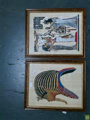 Sale 8582 - Lot 2110 - 2 Egyptian Oil Paintings on Papyrus