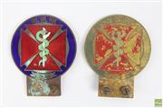 Sale 8608 - Lot 17 - Pair Vintage Enamel Medic Car Badges