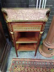 Sale 8634 - Lot 1086 - Louis XVI Style Mahogany Side Table, with elaborate gilt brass mounts, a gallery top with coloured marble top, above a frieze drawer...