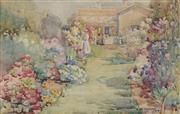 Sale 8838A - Lot 5145 - Hetty Dymock (1876 - 1977) - Untitled (Residential Garden Scene), 1914 26.5 x 41cm