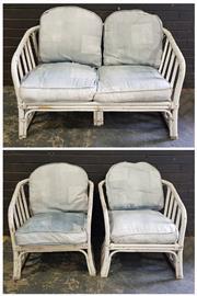 Sale 8971 - Lot 1087 - Cane Three Piece Lounge Suite (Sofa - H:68 x W:118 x D:81cm)