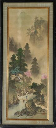 Sale 9003 - Lot 90 - A Framed Chinese Scroll of A Fisherman (38cm x 85cm)