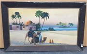 Sale 9011 - Lot 2085 - Artist Unknown Desert Oasis oil on board, 68 x 98cm (frame), signed