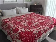 Sale 9066H - Lot 191 - An Indian handmade bed cover in red geometric floral stitched on a cream ground.