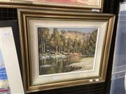 Sale 9087 - Lot 2026 - Kim Evans Bush Scene & Riveroil on canvas on board, frame: 46 x 54 cm, signed lower right