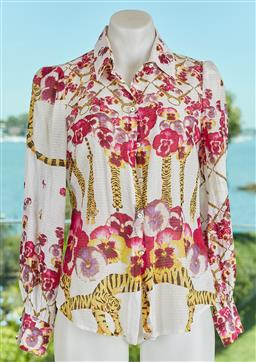 Sale 9120K - Lot 9 - A Roberto Cavalli cotton and silk blouse; with floral and tigers design, size US 6