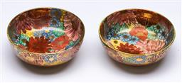 Sale 9153 - Lot 65 - A duo of Satsuma Thousand Flower earthenware wine cups, possibly Meiji/Taisho Period (one chipped) (W:6cm)