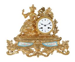 Sale 9245J - Lot 76 - A quality French 19th century ormolu salon clock, with fine hand painted Severs panels and maiden decoration, H 26cm x W 37cm.