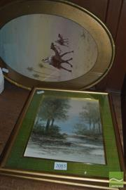 Sale 8425T - Lot 2085 - 3 Framed Watercolours incl Desert Scene in an Oval Frame