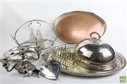 Sale 8490 - Lot 325 - Silver Plated Tray With Other Wares Incl Dome Cover, Candlestick Etc