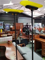Sale 8566 - Lot 1076 - Pair of Metal & Amber Glass Shade Standard Lamp