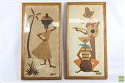 Sale 8608 - Lot 23 - Robert Lyons, Pair Wooden Veneer Calypso Style Artworks, SLR (Some Discolouration)