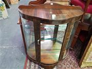 Sale 8657 - Lot 1056 - Art Deco Timber Display Cabinet with Glass Shelves (glass panel door missing)